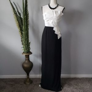 Max and Cleo strapless black & off white gown